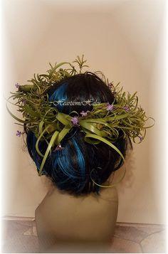 Head wreath adult woman greenery purple grass by HeartsomeHalos
