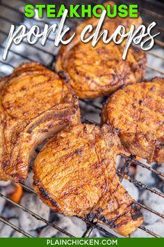 Pork Chop Recipes, Spicy Recipes, Grilling Recipes, Meat Recipes, Cooking Recipes, Dinner Recipes, Marinated Pork Chops, Baked Pork Chops, Recipes