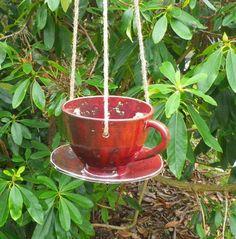 Bird feeder tea cup in stoneware-weatherproof ceramics pottery ceramic £23.99