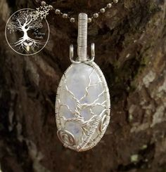 Tree of Life Necklace / Moonstone / Stone by TheSleepyFirefly