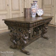 Antique Furniture | Antique Desks & Secretaries | 19th Century Renaissance Library Table with Gryffins | www.inessa.com