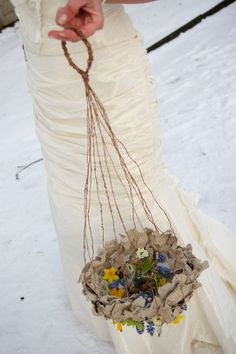 Hanging basket wedding. Flowers inside and underneath