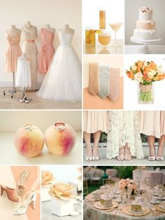 Pretty peaches and cream wedding inspiration board.