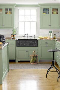 Green Kitchen Cabinets, Kitchen Cabinet Colors, Painting Kitchen Cabinets, Kitchen Paint, Kitchen Colors, Kitchen Wood, Floors Kitchen, White Cabinets, Diy Kitchen