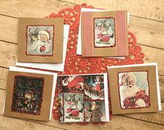 """Set of 5 Vintage-Look Red-Glitter Santa Mini-Cards, Gift Tags, Jolly, Fun, Christmas, Holiday, Winter, Present, Kraft, Happy - 3"""" Square by PaperDahlsLLC on Etsy"""
