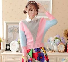 The new 2014 sets sweet spell color contrast color joker long-sleeved brief paragraph sweater knit female coat