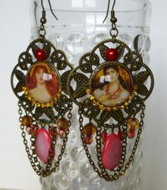 """Boucles d'oreille """"Flamboyantes"""" style Victorien,cabochon de verre,nacre ,métal bronze : Boucles d'oreille par bleusoupir"""