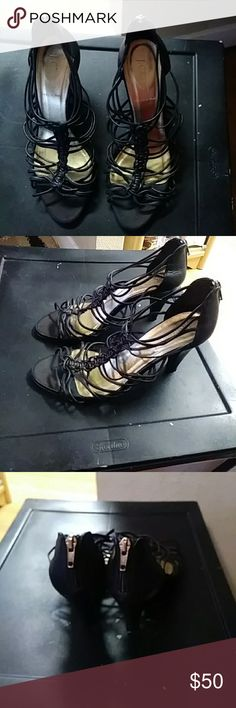 Beautiful J.Crew black caged heals Beautiful black J.Crew caged heels with zipper on back. Used condition. Reflected in price, Still very beautiful heels J. Crew Shoes Heels
