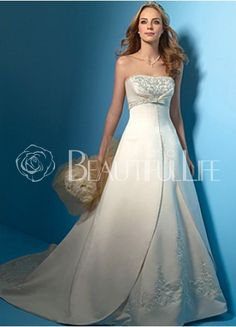 Strapless Satin Empire Waist A-Line Wedding Dress With Embroidery