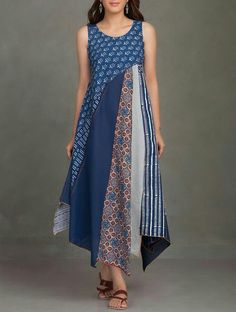 Buy online Dresses - Indigo block printed thread embroidered upcycled organic cotton dress from Jaypore Batik Fashion, Boho Fashion, Fashion Dresses, Fashion Design, Cheap Fashion, Affordable Fashion, Fashion Women, Cotton Dresses Online, Linen Dresses