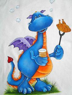 pintura em tecido Dragon Illustration, Cute Illustration, Tole Painting, Fabric Painting, Dragon Birthday Parties, Arte Country, Cute Dragons, Dragon Art, Photo Craft