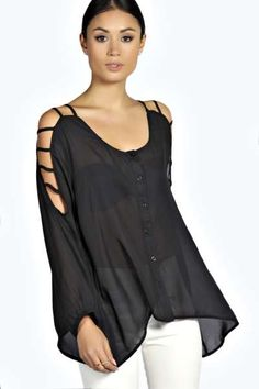 Lucie Ladder Cut Out Sleeve Blouse at boohoo.com i so so so want this in the rust or cream