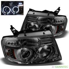 For Smoked 04-08 Ford F150 Twin Halo LED Pro Headlights Smoke Head Lights Lamp