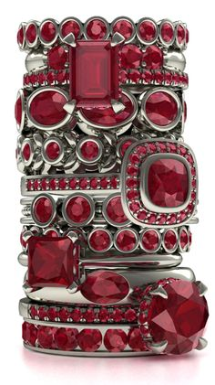 A stack of ruby rings.