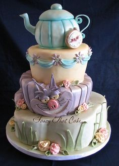 The cake of magic. Very cute cake! Crazy Cakes, Fancy Cakes, Pink Cakes, Pretty Cakes, Beautiful Cakes, Amazing Cakes, Alice In Wonderland Cakes, Wonderland Party, Fancy Cake Image