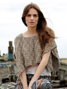 Lovely cropped poncho, worked in one piece in basketweave post stitches  Make longer, close up sides