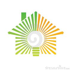 Logo energized house by a green bulb