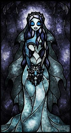 Stain Glass Art- Tim Burton& Corpse Bride this should be a thing, stained glass of your favorite fandoms Estilo Tim Burton, Tim Burton Stil, Tim Burton Kunst, Film Tim Burton, Tim Burton House, Disney Stained Glass, Stained Glass Art, Fused Glass, Stained Glass Tattoo