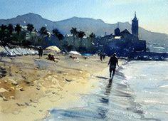 Sitges beach towards church, Spain by Tim Wilmot