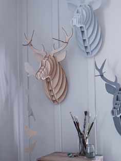 Laser Cut Stags Head - This modern take on the classic hunting trophy is right on trend. 14 pieces of laser-cut MDF slot together easily to make a stunning stag head. Leave natural or paint in a pretty colour of your choice. Laser Cut Mdf, 3d Laser, Laser Cutting, Antler Wall Decor, Stag Head, Deer Heads, Cox And Cox, Arts And Crafts, Diy Crafts
