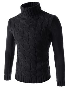 Korean casual fashion sweaters for men. Slim fit turtle neck, front cable knitted tops are made of acrylic wool blend. Stretch and warm knitwear for stylish guys.