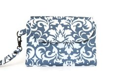 Gray Damask Wristlet by CrookedSmileCreation