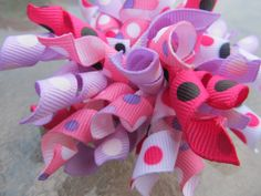 Pink and Purple Corkscrew Hair Bow spiral by BusyBellaBoutique, $5.00