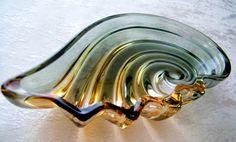 Bohemian Glass Shell Dish