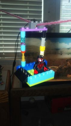 Me and my bro seen a lego zipline so we made our own
