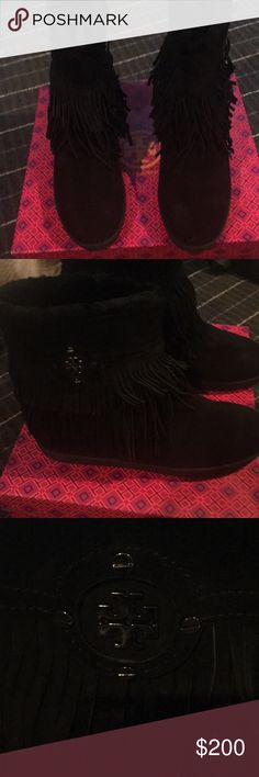 Tory Burch Boots New!! Never been wore, new in the box. Black suede fringe boots, and dust bag also comes with boots. Tory Burch Shoes Ankle Boots & Booties
