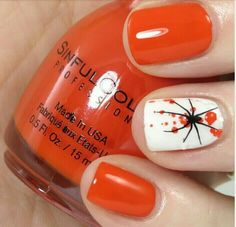 Halloween spider orange nail art design