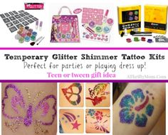 this would be awesome for a kids party too! glitter tatoo kit  teen gift idea