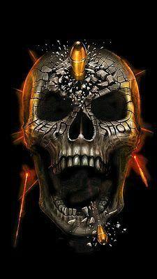 Bullet Through Black Skull Illustration Rauch Tattoo, Dark Fantasy, Fantasy Art, Art Harley Davidson, Totenkopf Tattoos, Rock Poster, Skull Pictures, Skull Island, Skull Artwork