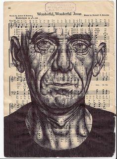 Mark Powell, Speaking in Tongues (Prattle). Bic biro drawing on music sheet, © Mark Powell Biro Drawing, Gcse Art Sketchbook, Identity Art, Detail Art, Art, Mark Powell, Meet The Artist, Music Art, Portrait Art