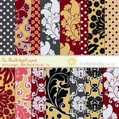Set of 15 digital papers in bold, chic, Fall  inspired  colors and floral hand drawn patterns. Different design styles were mixed to give you more posibilities. Perfect for stationary, scrapbook, wedding, candy wrappers, envelopes, favor boxes and bags, gift tags, all sorts of packaging etc. You can also use them for blog or web design.