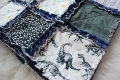 Navy Gray and White Dinosaur Baby Rag Quilt Baby Shower Gift Ready to Ship Dino Quilt Minky Baby Blanket Stellasauraus Nursery Minky Baby Blanket, Stroller Blanket, Baby Rag Quilts, Grey And White, Gray, Kona Cotton, Beautiful Babies, Soft Fabrics, Baby Shower Gifts