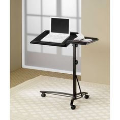 Office Furniture Long Island NY: Laptop stand in black with adjustable height and top. Caster wheels add mobility and flexibility. Color: Black Dimensions Laptop Stand: x x Laptop Stand, Laptop Table, Laptop Desk, Laptop Computers, Computer Stand For Desk, Small Computer, Computer Desks, Coaster Fine Furniture, Canapé Design