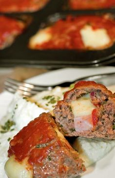"""CLICK PIC  2x for Recipe....  ...Stuffed Meatloaf Minis... ...Recipe by George Stella... ...For tons more Low Carb recipes visit us at """"Low Carbing Among Friends"""" on Facebook"""