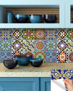 This Traditional Mexican Tile Decals bathroom stickers mixed Tiles for backsplash Kitchen decals DIY home decor is just one of the custom, handmade pieces you'll find in our decorative tiles shops. Bathroom Stickers, Bathroom Mural, Vinyl Wall Stickers, Vinyl Art, Kitchen Decals, Kitchen Backsplash, Blue Backsplash, Tile Countertops, Tile Decals