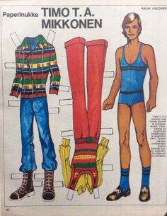 Paper doll Timo T. Fabric Doll Pattern, Fabric Dolls, Vintage Paper Dolls, Puppets, Nostalgia, Play, Retro, Paper Puppets, Dolls