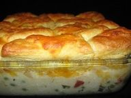 Creamed Chicken and Biscuits Casserole Recipe ~ I think ill sub a few ingredients for the pimento....