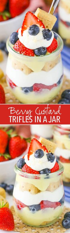 Berry Custard Trifles in a Jar - no bake with layers of Walkers shortbread, custard, whipped cream and fresh fruit!