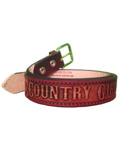 Personalized hand made Country Girl name belt by Gavere Leather.  http://gavereleather.net/countrygirlbelt.aspx