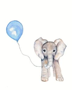 Elephant with Blue balloon watercolor nursery print- 8 x 10