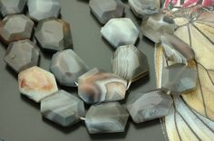 Faceted Botswana Agate Faceted Flat Nugget / 23x30mm by BeadWalla, $30.00