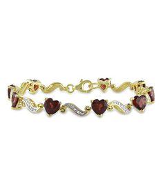 Another great find on #zulily! Diamond, Garnet & Gold Heart Bracelet #zulilyfinds