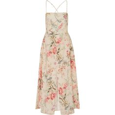 Zimmermann Mercer Floral-Print Cotton-Blend Dress (1.745 BRL) ❤ liked on Polyvore featuring dresses, floral, flared dresses, flare dresses, floral fit-and-flare dresses, pink fitted dress and nude dress
