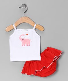 Take a look at this Victoria Kids White Elephant Tank & Red Skirted Diaper Cover - Infant on zulily today!