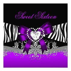 Sweet Sixteen 16 Birthday Party Zebra Purple Black Invite