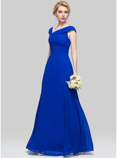 A-Line/Princess V-neck Floor-Length Ruffle Zipper Up Cap Straps Sleeveless No Royal Blue Spring Summer Fall General Plus Chiffon Height:5.7ft Bust:33in Waist:24in Hips:34in US 2 / UK 6 / EU 32 Bridesmaid Dress, JJsHouse.com